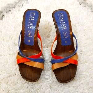 Italian Shoemakers Carved Wood Strappy Sandals
